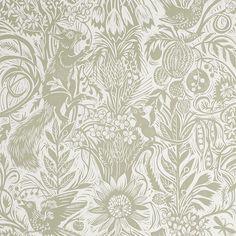 Mark Hearld - wallpaper - Squirrel and Sunflower - Green Sedge