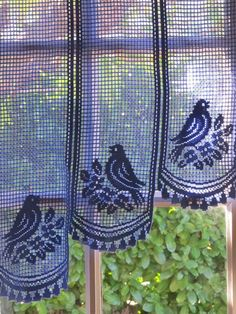 Provence Blue Lace Cafe Curtains, French Lace Valance, Lace Curtains, Birds Provence Blue Lace Cafe Curtains French Lace by HatchedinFrance White Lace Curtains, Lace Valances, French Curtains, Filet Crochet, Irish Crochet, Knit Crochet, Crochet Stitches, Crochet Curtains, Curtain Patterns