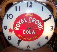 "Royal Crown Clock (Vintage Cola Drink Lighted Clock, ""Best by Taste-Test"", Antique RC Beverage Drink Advertising)"