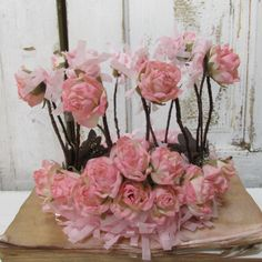 Hand formed wire crown with pink roses shabby cottage handmade