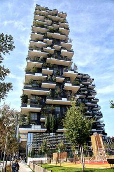 The Bosco Verticale via De Castilla, a residential tower in Milan, Italy