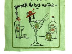 Linen Tea Towel Kitchen Decor Bar Towel Martini Glass Risque Lady Gin Bottle Red Hat by NeatoKeen on Etsy