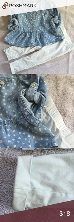 NWOT long sleeve denim top and pants Blue denim long sleeve top with white hearts. Buttons up to a three quarter sleeve. Comes with white cuffed pants. Joe Fresh Matching Sets