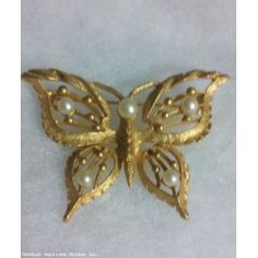 Vintage Textured Gold Tone Faux Pearl Butterfly Pin Brooch