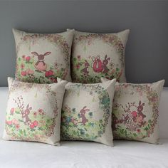 18   Easter Cotton Throw Back Cushion Cover Rabbit Flower Pillow Case Home Decor