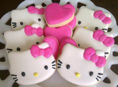 One Dozen Full Size Hello Kitty Decorated Sugar Cookies Galletas Cookies, Iced Cookies, Cupcake Cookies, Sugar Cookies, Cupcake Toppers, Hello Kitty Cookies, Hello Kitty Cake, Hello Kitty Birthday, Hello Kitty Fondant