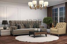 sofa: interior with sofa. 3d illustration