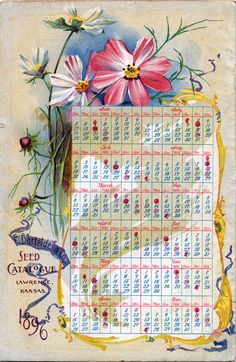 1896 Seed Catalogue Calendar