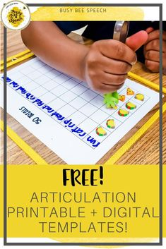 Free articulation printable + digital grid template - Busy Bee Speech