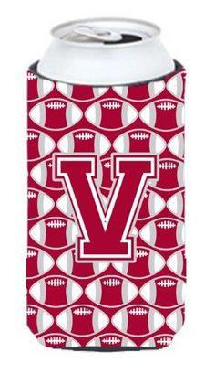 Letter V Football Crimson, grey and white Tall Boy Beverage Insulator Hugger CJ1065-Vtbc, Multi