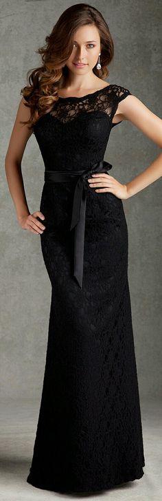 850b6b49922de Elegant Lace Floor Length Bridesmaid Dress Mori Lee 696 Black Bridesmaid  Dresses With Lace, Mori
