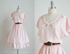 Romantic Cotton Candy Pink Vtg 80s 50s Cutout Embroidered Rockabilly Dress Sz XL   eBay