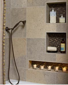 Eclectic Bathroom Design, Pictures, Remodel, Decor and Ideas - page 23 Earthy Bathroom, Bathroom Niche, Eclectic Bathroom, Shower Niche, Shower Set, Bathroom Renos, Bathroom Renovations, Small Bathroom, Bathroom Storage
