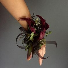 "S h a y n a  A n d e r s o n on Instagram: ""Evan gave me creative freedom on the homecoming corsage and well,, you know me.🌹#homecoming #corsage #moody #floral #calalily #succulents…"""