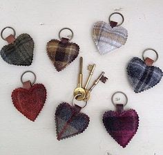 Unique Gift Ideas and Personalised Gifts Tartan Crafts, Cute Crafts, Felt Crafts, Crafts To Make, Christmas Crafts, Sewing Crafts, Sewing Projects, Craft Stalls, Heart Keyring