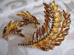 Layered Rhinestone Leaf  Set Brooch and Earrings Unsigned Beauty