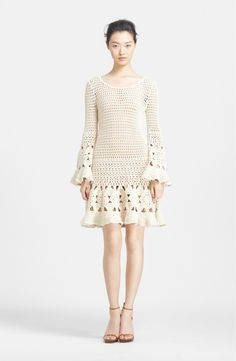 Free shipping and returns on Michael Kors Hand Crochet Cashmere & Cotton Dress at Nordstrom.com. Flowery crochet trims the long bell sleeves and flared hem of a fabulous retro-inspired dress hand knit from supple cashmere and cotton yarns.
