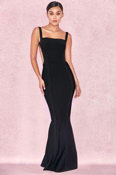 a8b7b1d778  Ophelia  Maxi Vestido Negro sin Espalda Vestido Negro