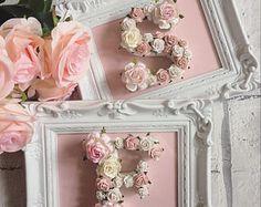 Custom made framed floral letters // babyshower gift // wedding gift