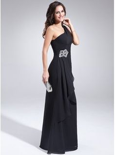 A-Line/Princess One-Shoulder Floor-Length Chiffon Mother of the Bride Dress With Beading Cascading Ruffles (008022446) - JJsHouse