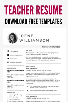 Teaching CV Template to write your own Resume Template Examples, Teacher Resume Template, Resume Template Free, Creative Resume Templates, Cover Letter Teacher, Cover Letter For Resume, Resume Layout, Job Resume, First Resume