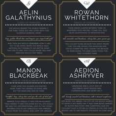Aelin Galathynius Rowan Whitethorn Manon Blackbeak Aedion Ashryver