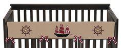 Pirate Treasure Cove Long Crib Rail Guard Cover