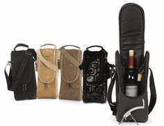 Stylish and subtle, the Single Bottle Wine Carrier comes in Black Micro suede, Camel Micro Suede, Distressed Tan, Graphix Black, and Espresso Faux Leather.  Males a beautiful statement.