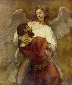 Rembrandt van Rijn, Jakob worstelend met de engel.
