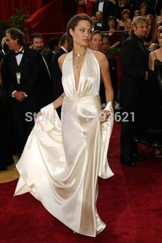 Angelina Jolie        Cheap gown wedding, Buy Quality dress star directly from China dress women plus size Suppliers:     2014 Hot A-line One-shoulder Sleeveless Court Train Yellow Chiffon Lace Backless Long Women Evening Pro