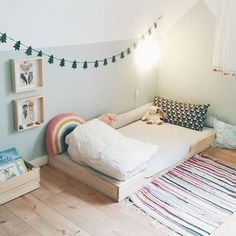 Montessori bedroom with floor bed for toddler or preschooler.