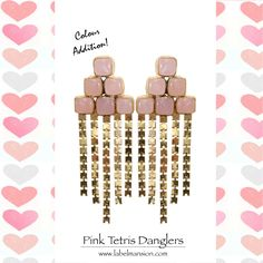 Colour Addition! Who doesn't love pink!! :) Shop the 'Pink Tetris Danglers' at http://www.labelmansion.com/hyp-16-7.html #labelmansion #jewellery #earrings #tetris #danglers #pink #shoponline #india