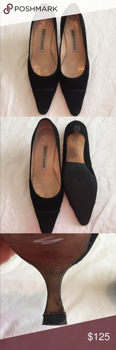 [Manolo Blahnik] Black Suede pumps - Size 38 EUC Manolo Blahnik suede pumps. Some light wear on the inside, but hardly any wear on the bottom or the heel. 2 inch heel. Manolo Blahnik Shoes Heels