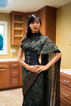 Gorgeous sari and corset combination