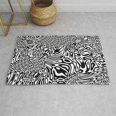 Black and white psychedelic optical illusion Rug Black And White Carpet, Black Ink Art, White Ink, Optical Illusions, Psychedelic, Animal Print Rug, Illustration Art, Art Prints, Mary