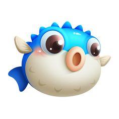 Cartoon Sea Animals, Cartoon Fish, Cute Cartoon Drawings, Game Character Design, Character Design Animation, Game Design, 2d Game Art, Food Graphic Design, Mascot Design