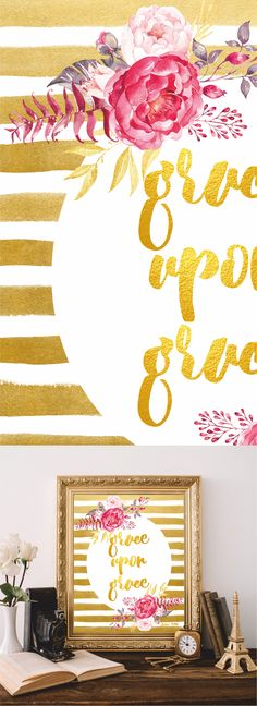 Bible quotes Bible verses art Christian wall art Scripture Print Printable Watercolor Gold by AtticOfMemories