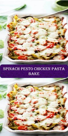 Spinach Pesto Chicken Pasta Bake #Spinach #Pesto #Chicken #Pasta #Bake Chicken Pasta Bake, Pesto Chicken, Fajitas, Salmon Burgers, Spinach, Sweet Home, Baking, Ethnic Recipes, Food