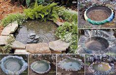 Fonte para jardim, por reutilização de pneu...
