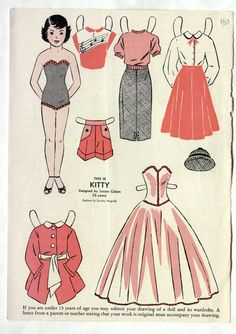 Here is a WEE WISDOM children's magazine Paper Doll page: KITTY, from June 1953 (not a reproduction), uncut, in very