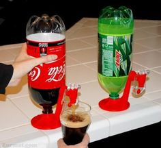 Fizz saver dispenser keeps drinks carbonated and dispenses right from your fridge. Simply twist dispenser onto the top of a plastic 2-liter bottle, then invert the bottle to dispense drinks into your glass. Fizz will last until the bottle is empty. Great for use at home, office, camping, entertaining and more.