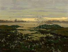 Jaroslav Panuška (Czech, 1972-1958), Žehuňský lake at dusk, c.1925