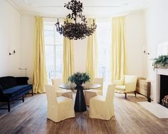 yellow drapes - Jo Malone Headquarters in London, designed by British designer Rose Uniacke