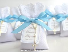 Items similar to Baptism Favors - Christening Lavender Sachets Baby Boy Favor with Rosary & Blue Ribbon - (set of 20 sachets) on Etsy Baby Boy Christening, Christening Favors, Baby Girl Baptism, Baptism Favors, Baptism Party, Baptism Ideas, First Communion Favors, First Holy Communion, Baby Boy Favors