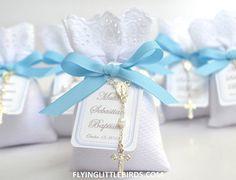 Christening Lavender Sachets Favor with Rosary & Blue Ribbon - Baby Boy Baptism Favors - (set of 20 sachets)