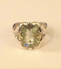 Ann King  Sterling Silver / 18K Green Quartz Ring  8 carats  Size 10 - http://designerjewelrygalleria.com/ann-king/ann-king-sterling-silver-18k-green-quartz-ring-8-carats-size-10/