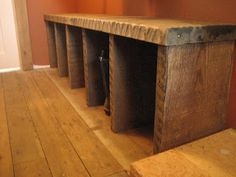 barnboard boot bench and flooring