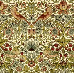 William Morris ~ Strawberry Thief ~ Trianon Cream ~ by PeacoquetteDesigns on Spoonflower ~ bespoke fabric, wallpaper, wall decals & gift wrap ~ Join PD  ~ https://www.Peacoquette.com  #Spoonflower #Peacoquette
