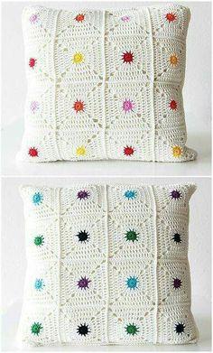 "Hot spot pillow ""New pattern: Hot spot pillow! (Haak Maar Raak) New pattern: Hot spot pillow!"", ""Hot Spot Pillow By Kirsten - Purchased Crochet Pattern Crochet Pillow Cases, Crochet Cushion Cover, Crochet Pillow Pattern, Crochet Cushions, Crochet Motif, Crochet Designs, Crochet Patterns, Knitting Patterns, Cushion Covers"