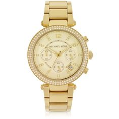 Michael Kors Designer Women's Watches Golden Stainless Steel Parker... (515 CAD) ❤ liked on Polyvore featuring jewelry, watches, accessories, michael kors, golden crown, chrono watch, chronograph watch, chronograph watches and bezel jewelry